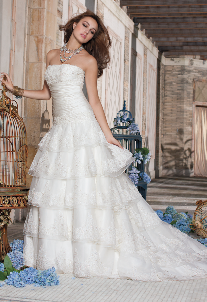 Camille La Vie Lace Tiered Strapless Wedding Dress 