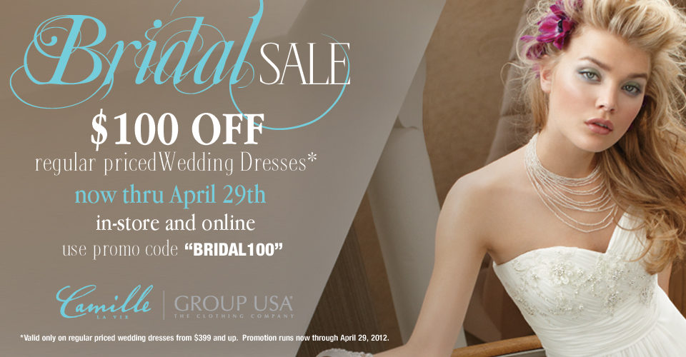 Camille La Vie and Group USA wedding dress promotion discount code