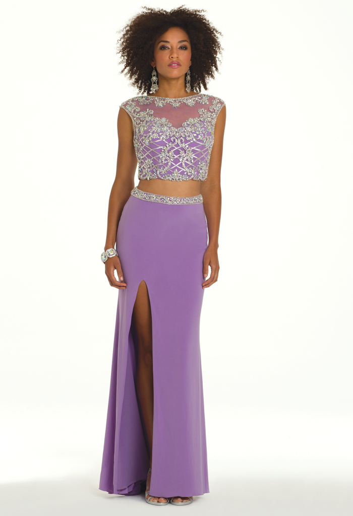 purple two piece long prom dress