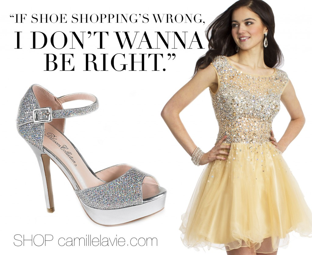 shoe shopping for prom at camille la vie