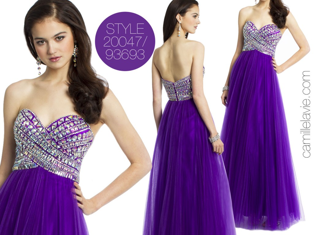 Strapless Beaded Prom Dress by Camille La Vie