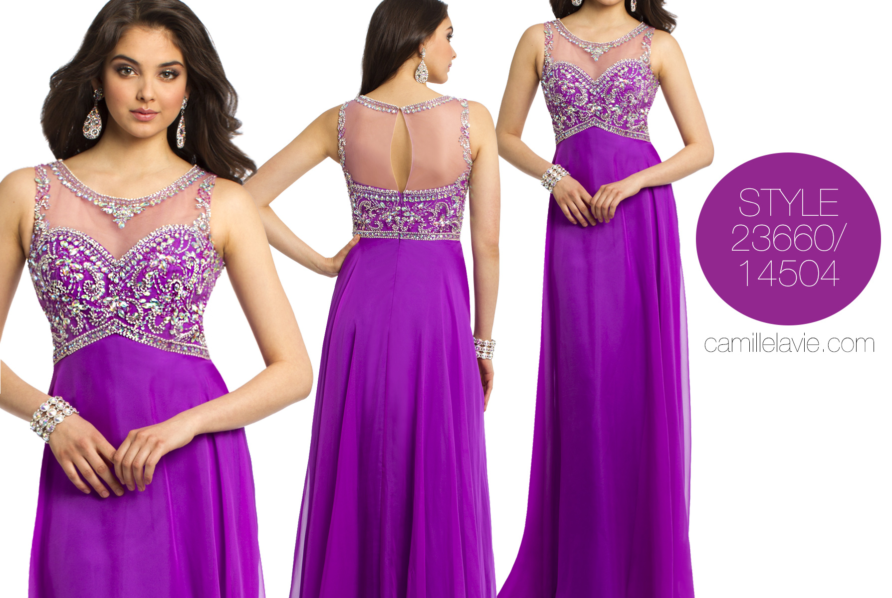 shop purple dresses for prom 2014 at camille la vie ...