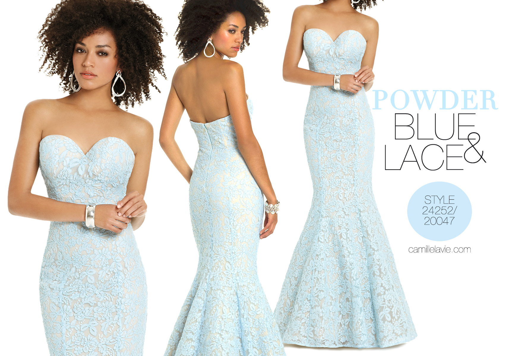 powder blue prom dress with trumpet skirt | Camille La Vie