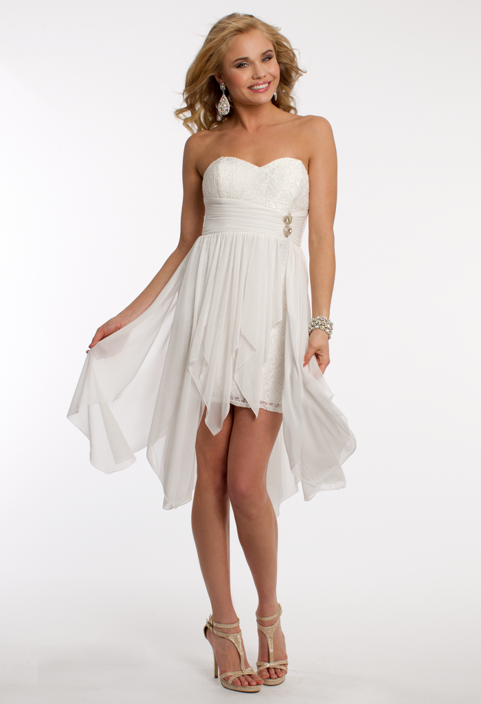 Short white hanky hem dress