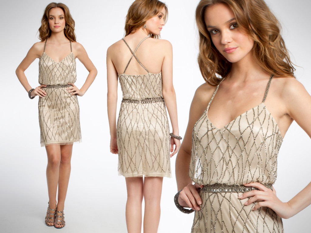 Nude metallic dresses