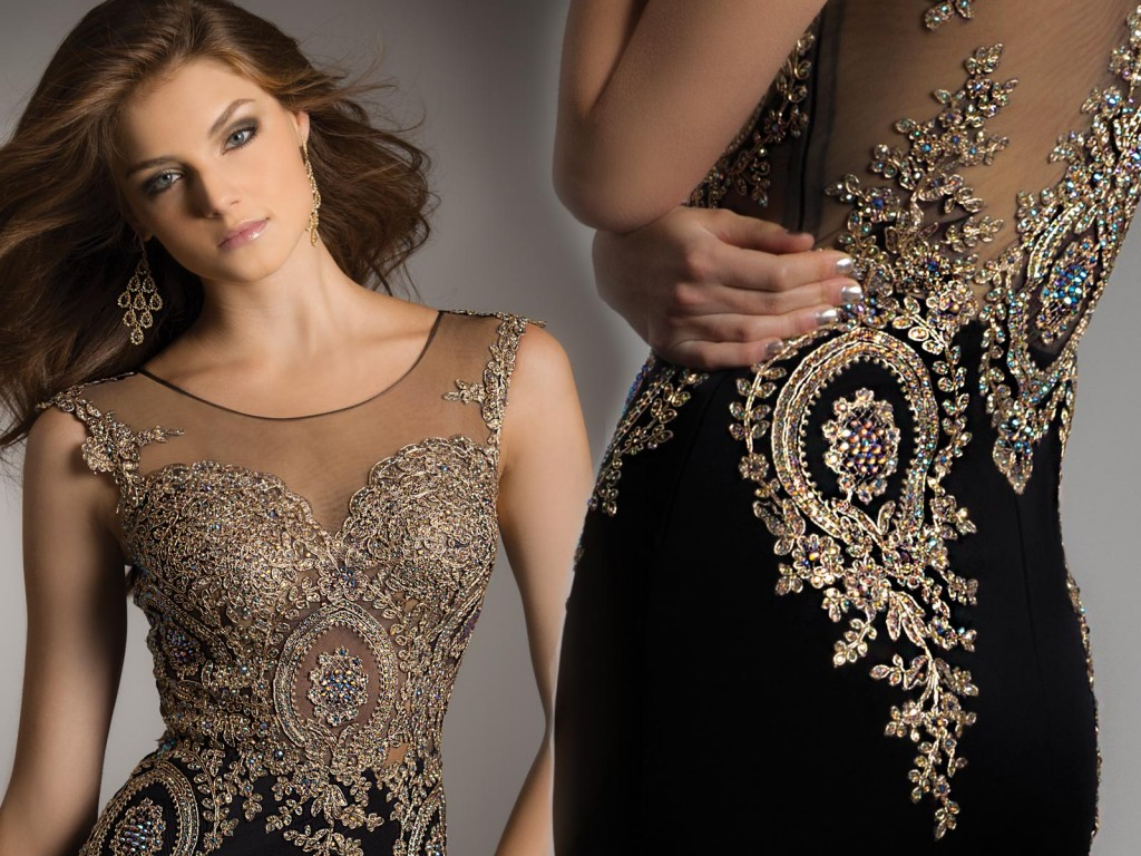Gold Metallic Lace Evening dress. Item of the Week