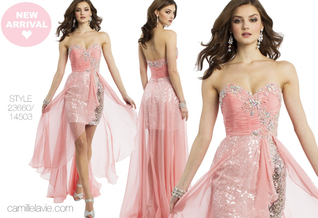pink sparkle prom dress by camille la vie