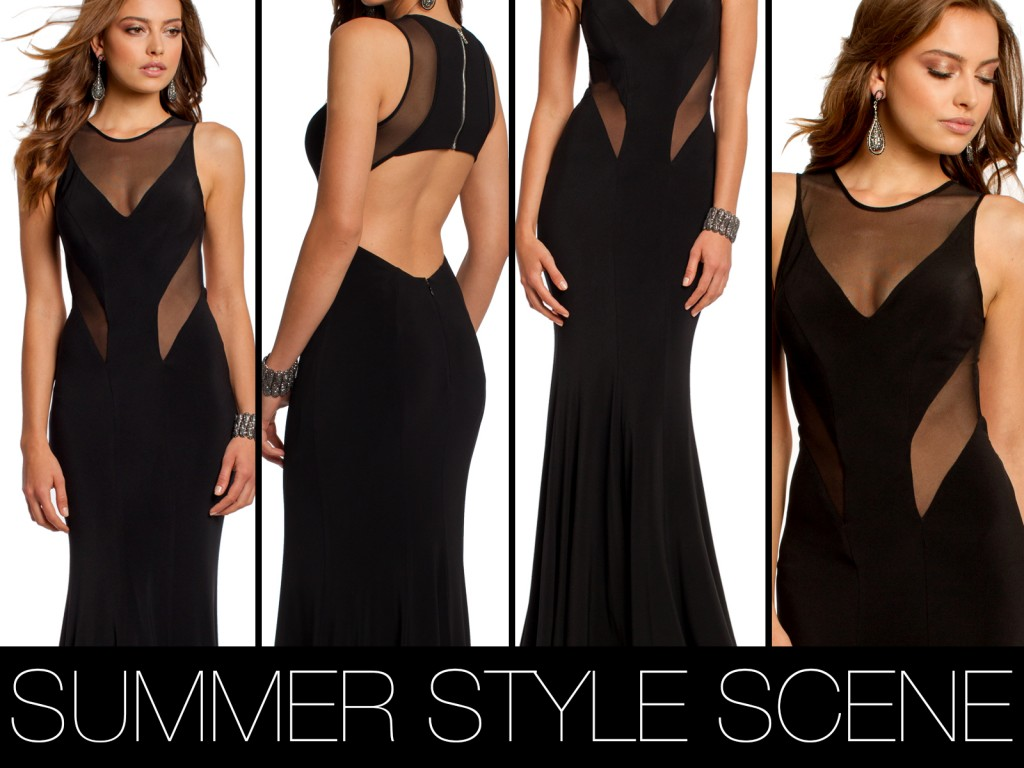 black illusion cutout long dress