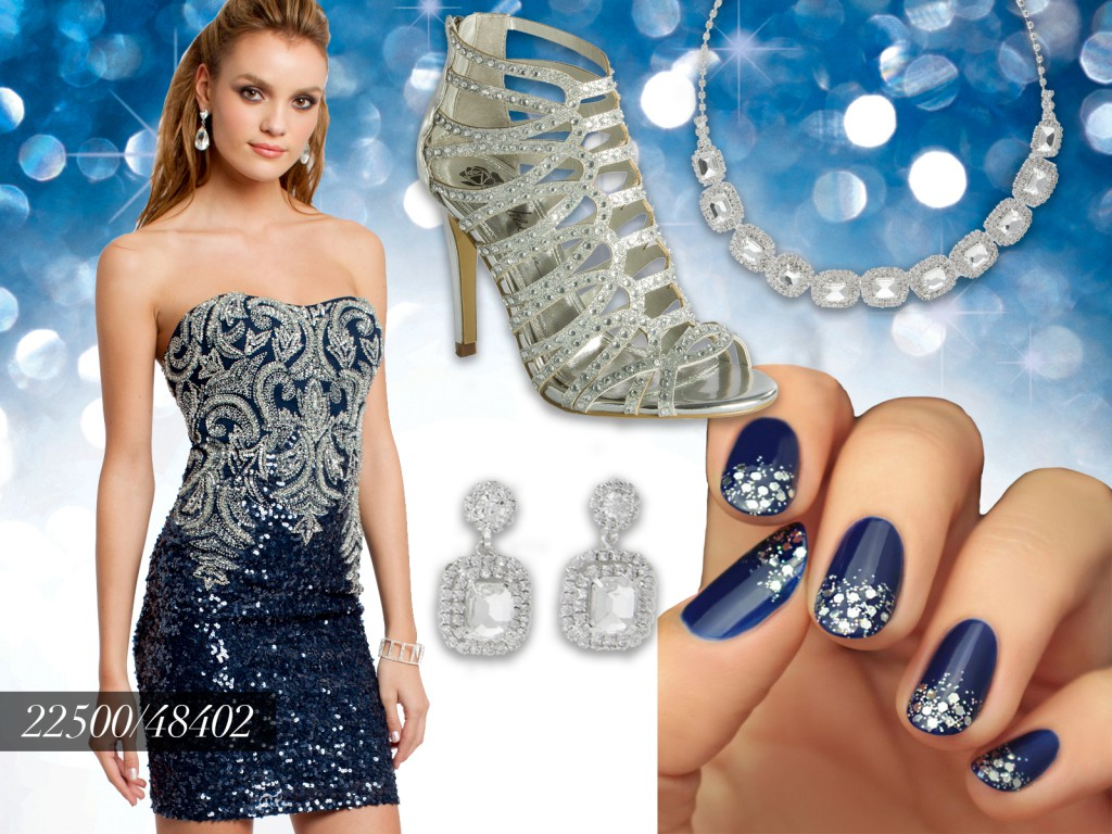 Navy and Silver Sequin NYE Dress