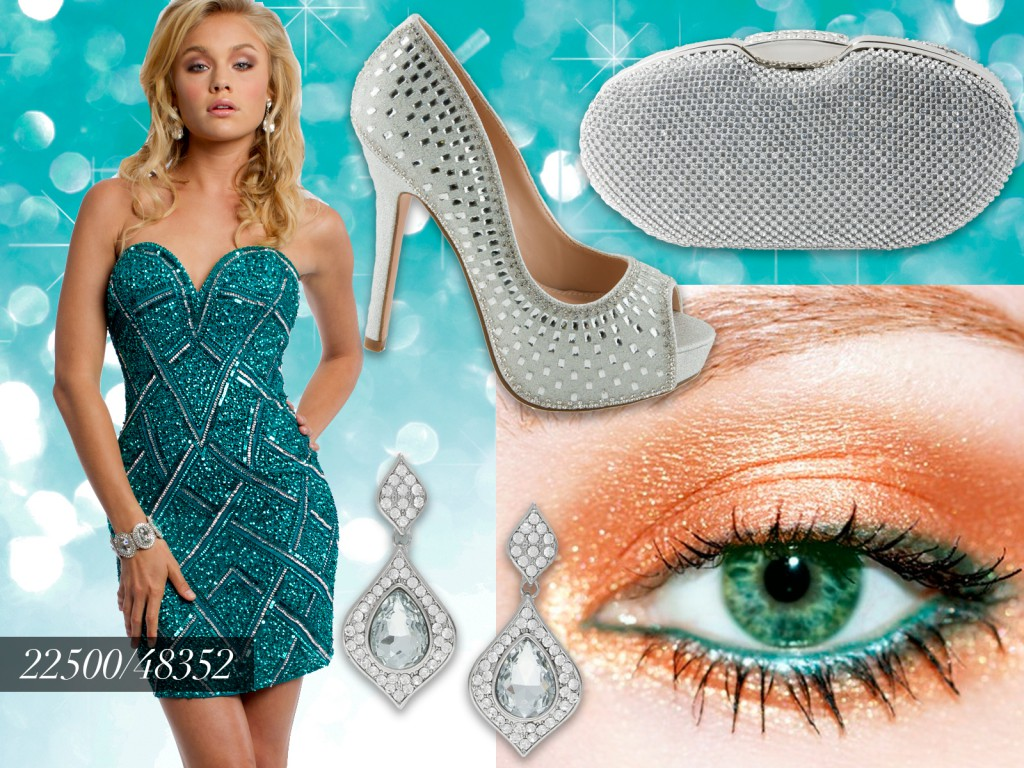 Teal Sequin Party Dress