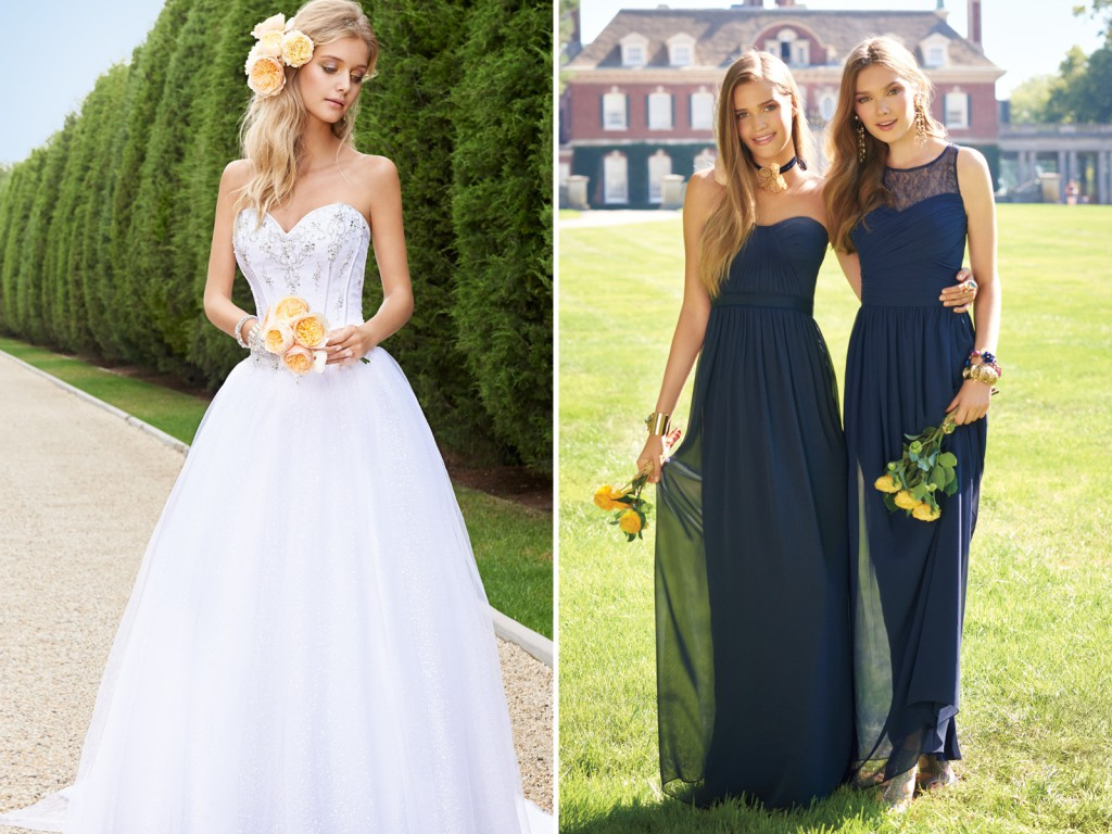 Wedding and Bridesmaids Dress Picks for a Ballroom Ceremony