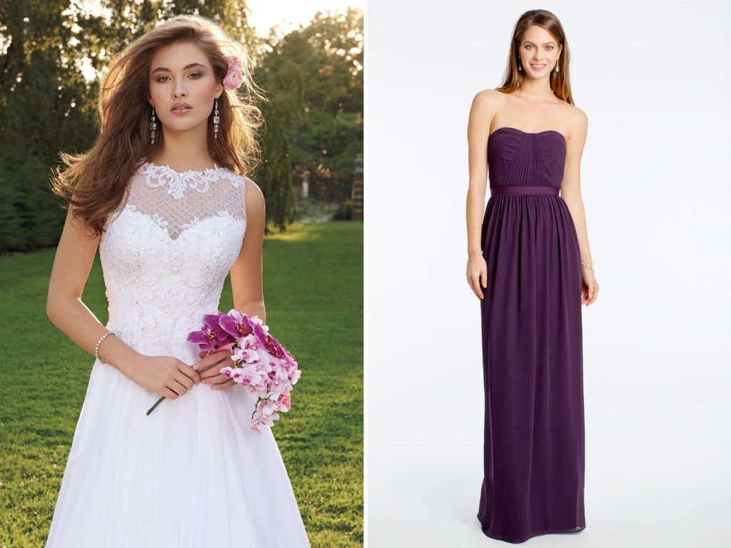 Bride and Bridesmaids Dresses for a Country Theme Wedding Location