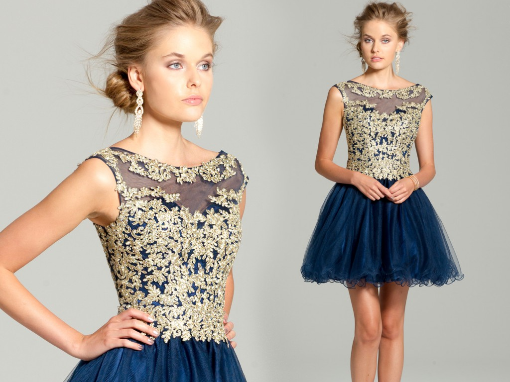 Short Dress with Gold Applique