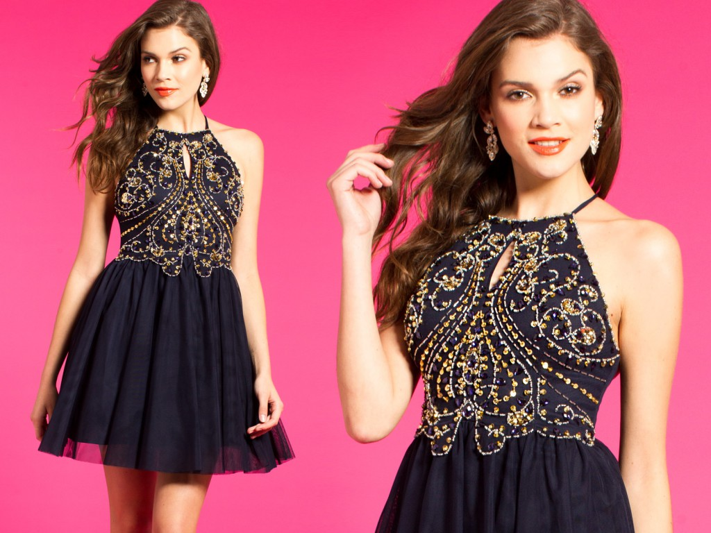 Short Dress with Gold Beading