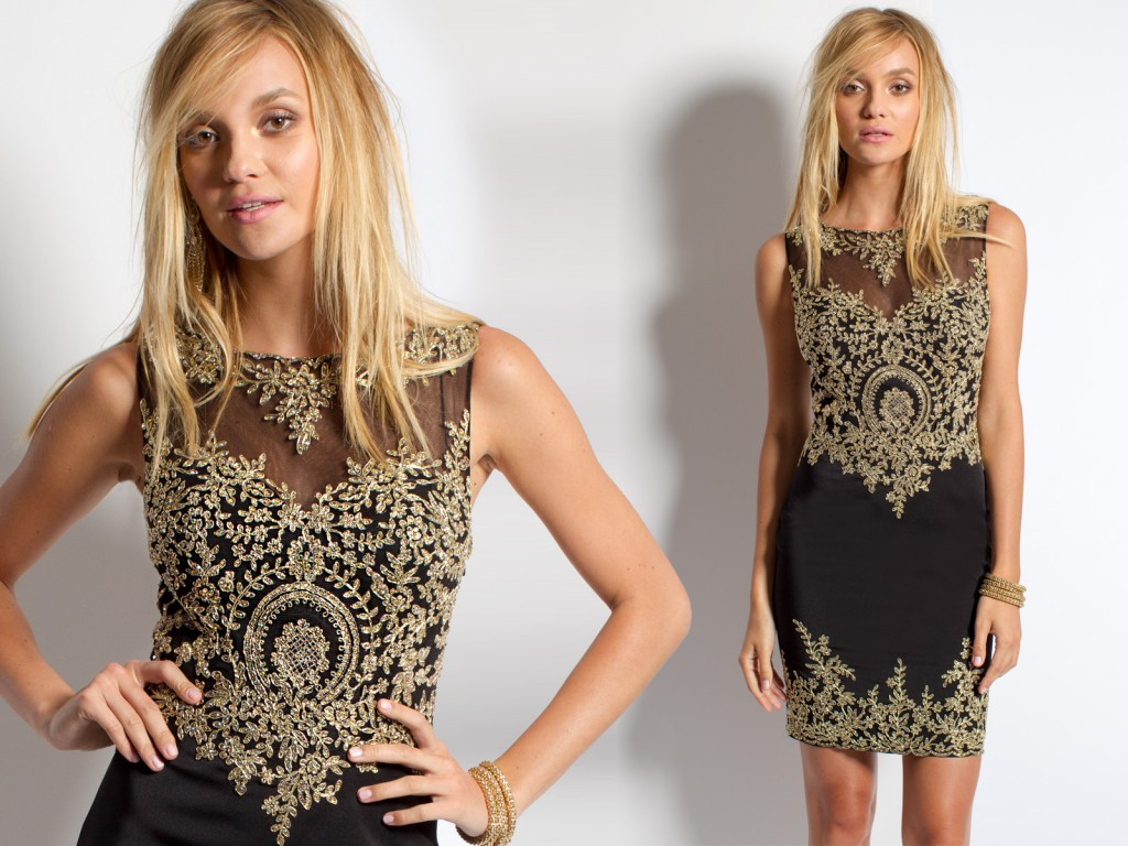 Short Dress with Gold Embroidery