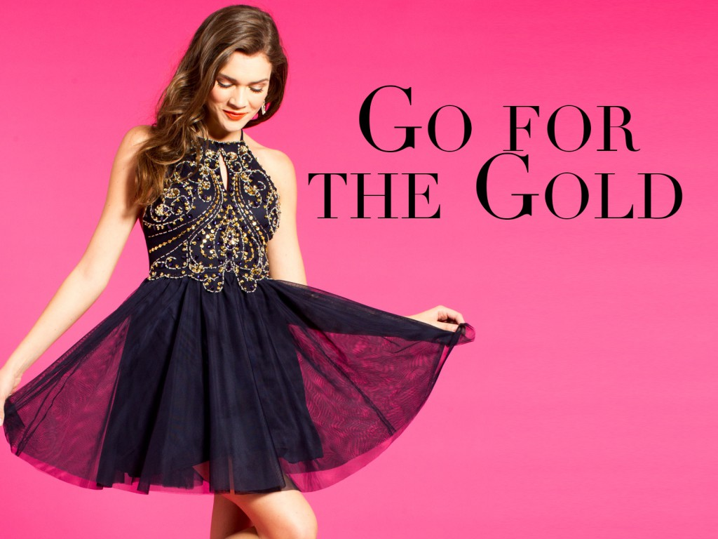 Homecoming Dresses with Gold