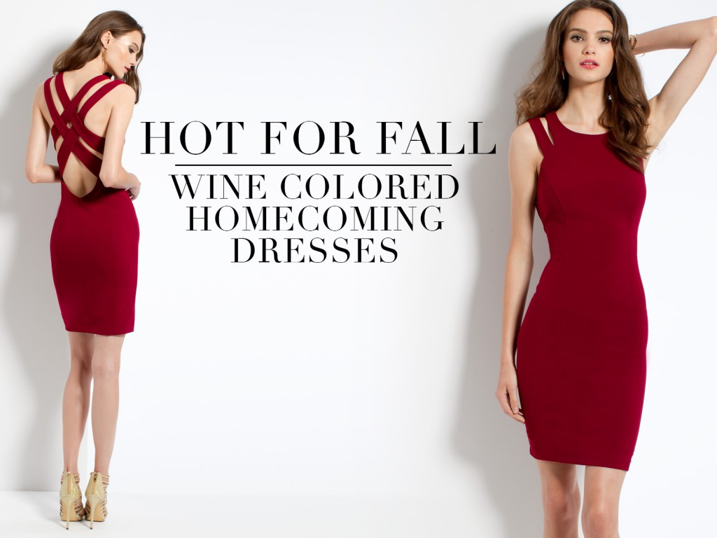 Wine Colored Short Homecoming Dresses for Fall 2016
