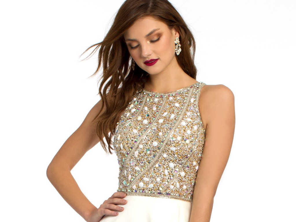 White Prom Dress with Beaded Bodice