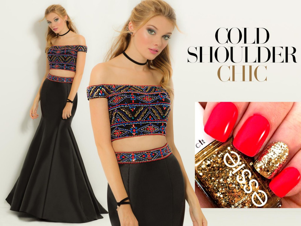 Off the Shoulder Prom Dress with Geo Beading