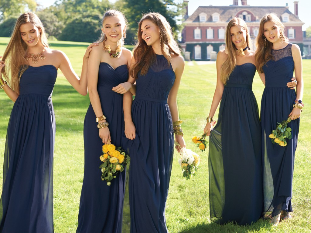 Navy Blue Bridesmaids Dresses by Camille La Vie