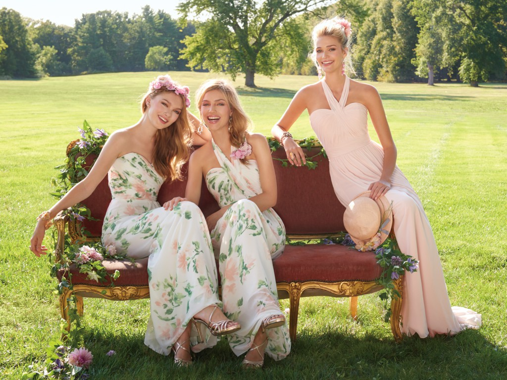 Pink and Print Bridesmaid Dresses by Camille La Vie