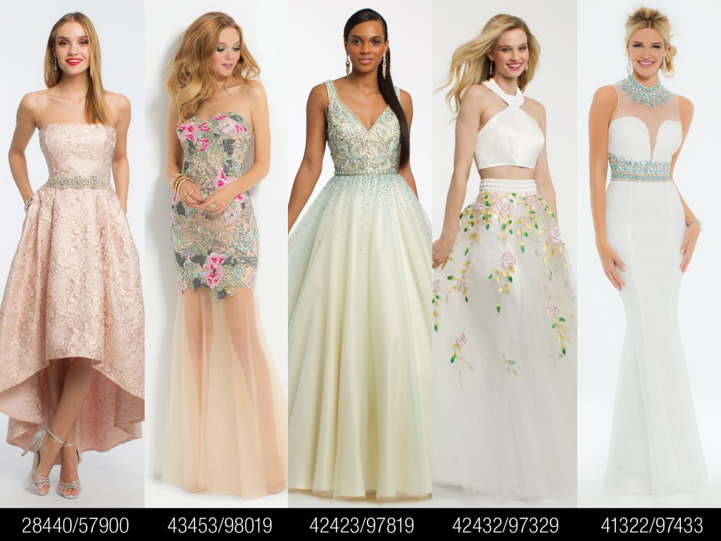Pink and Ivory Prom Dresses