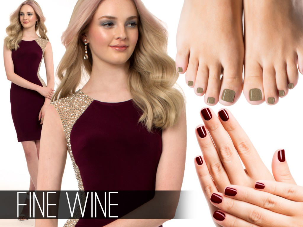 Wine Cocktail Dress and Nails