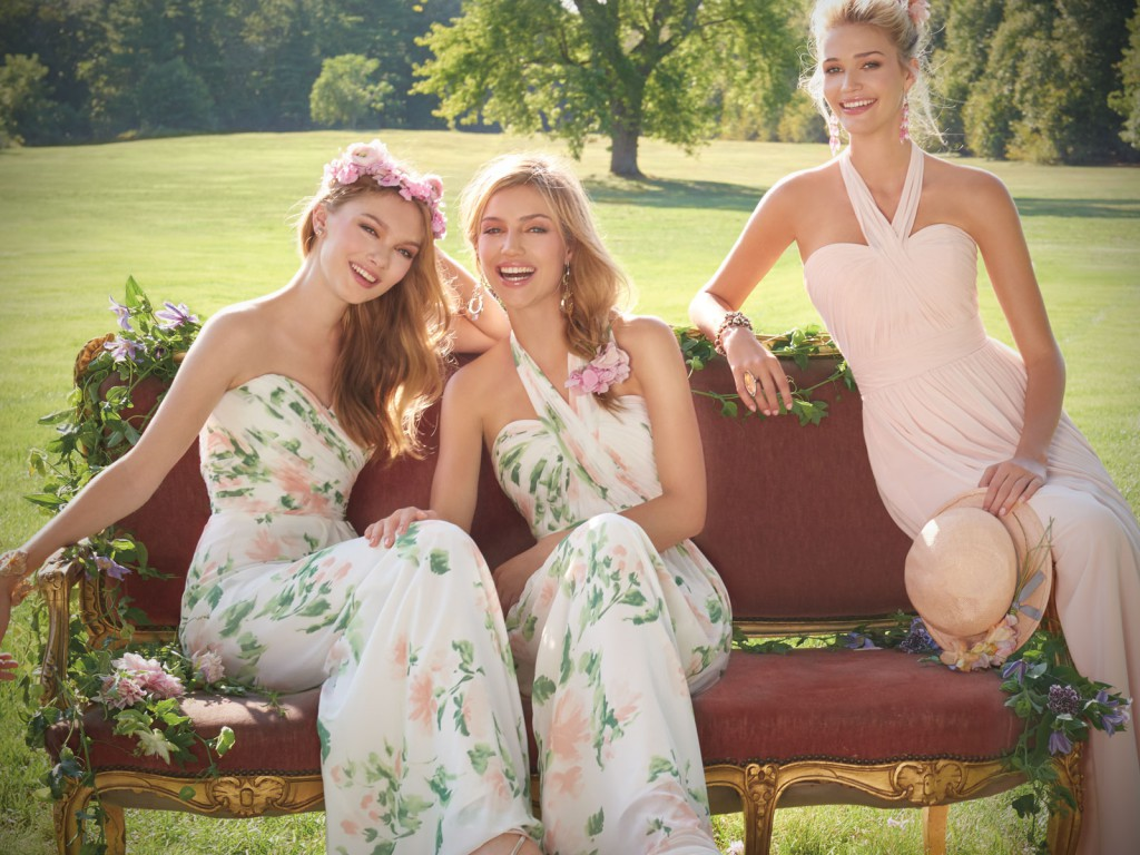 Print and Pink Bridesmaid Dresses by Camille La Vie