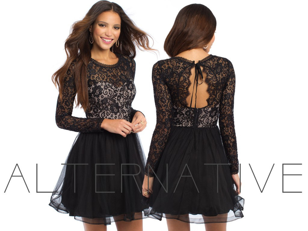 Long Sleeve Lace Dress with Keyhole Back