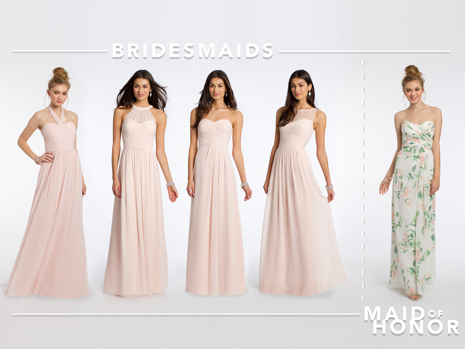 Jess and natalies top bridesmaid dresses camille la vie petal pink and print bridesmaid dresses by camille la vie ombrellifo Images