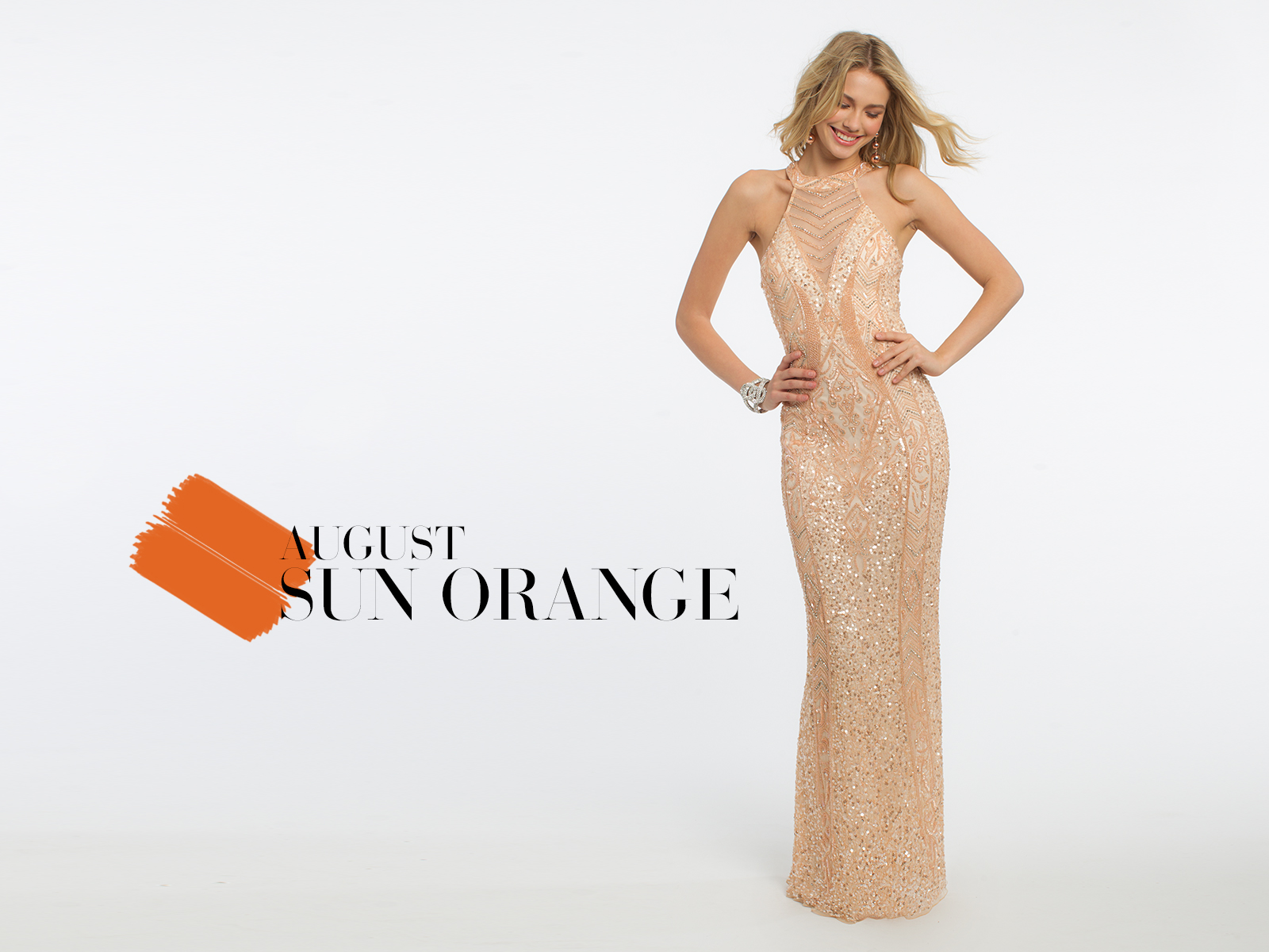 Beaded Cleo Illusion Neck Prom Dress by Camille La Vie