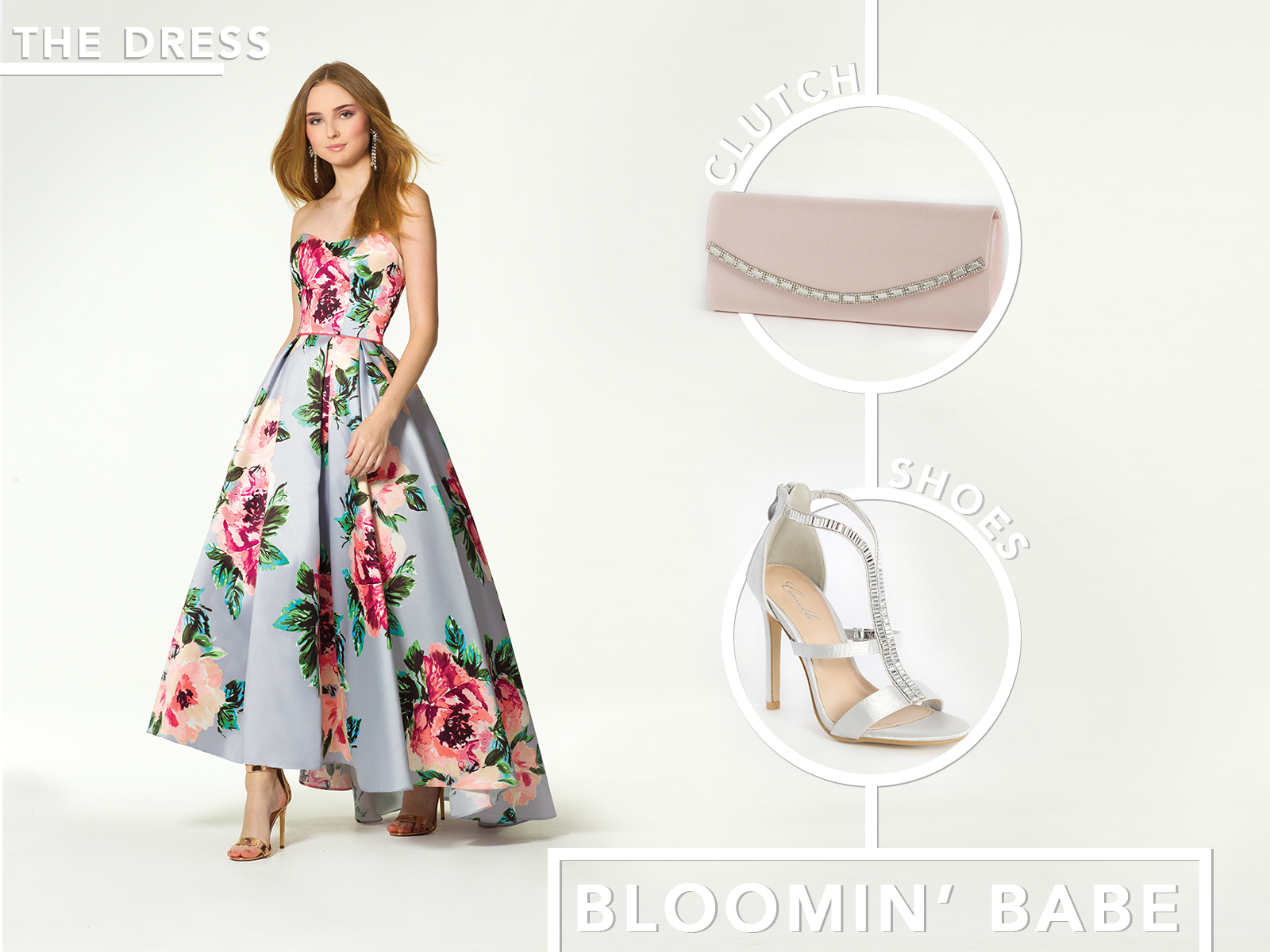 Floral High Low Mikado Ballgown Prom Dress by Camille La Vie
