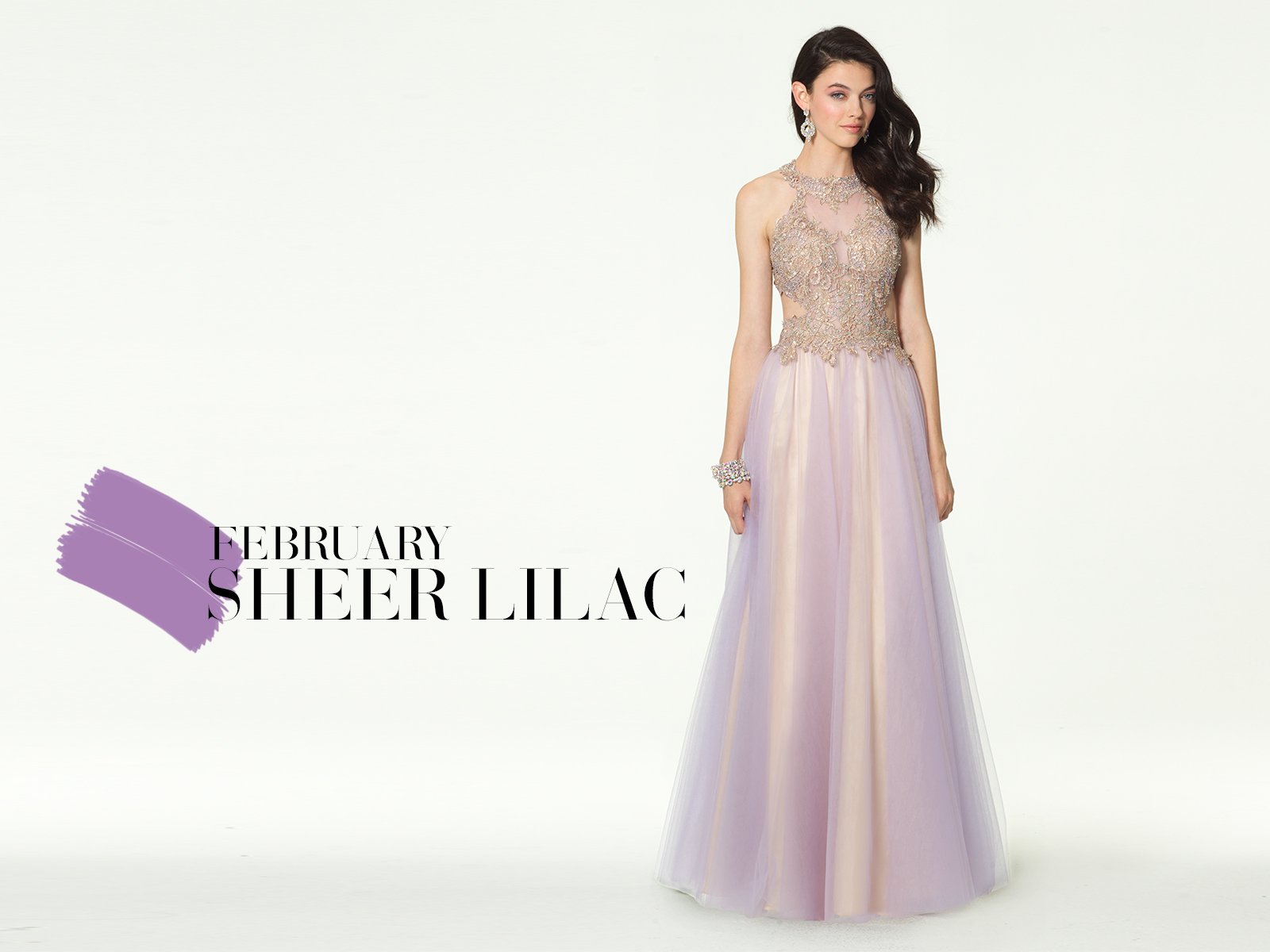 Two Tone Metallic Lace Ballgown Prom Dress by Camille La Vie