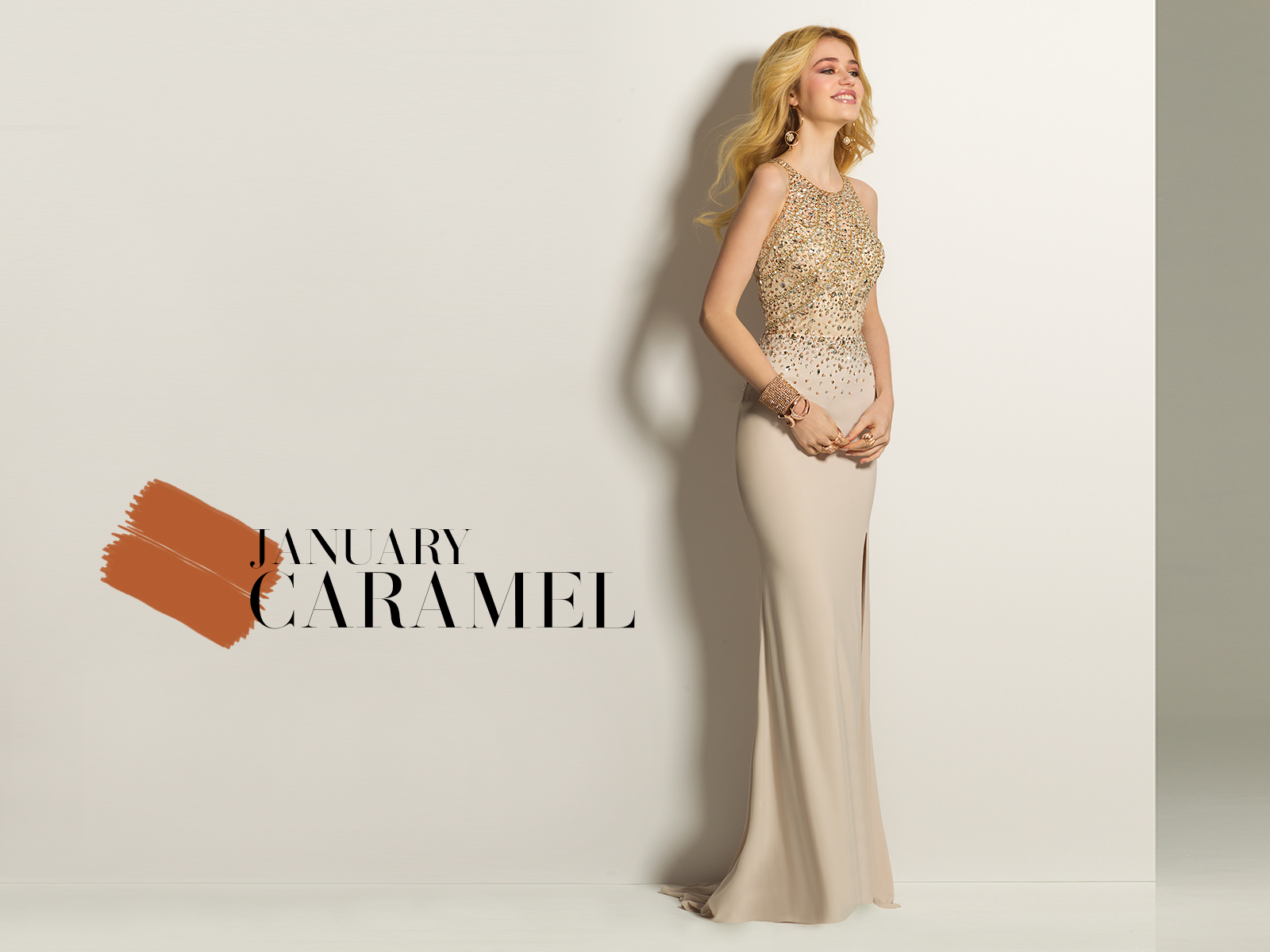 Stone Beaded Jersey Prom Dress by Camille La Vie