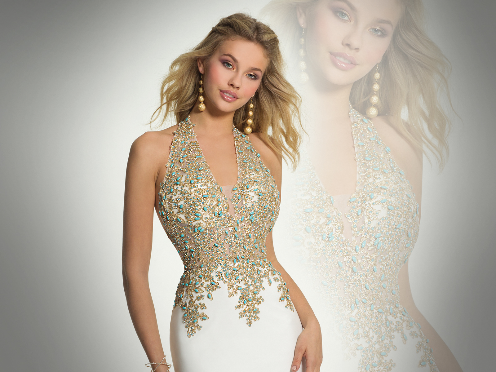 Gold Embroidered Jersey Halter Prom Dress
