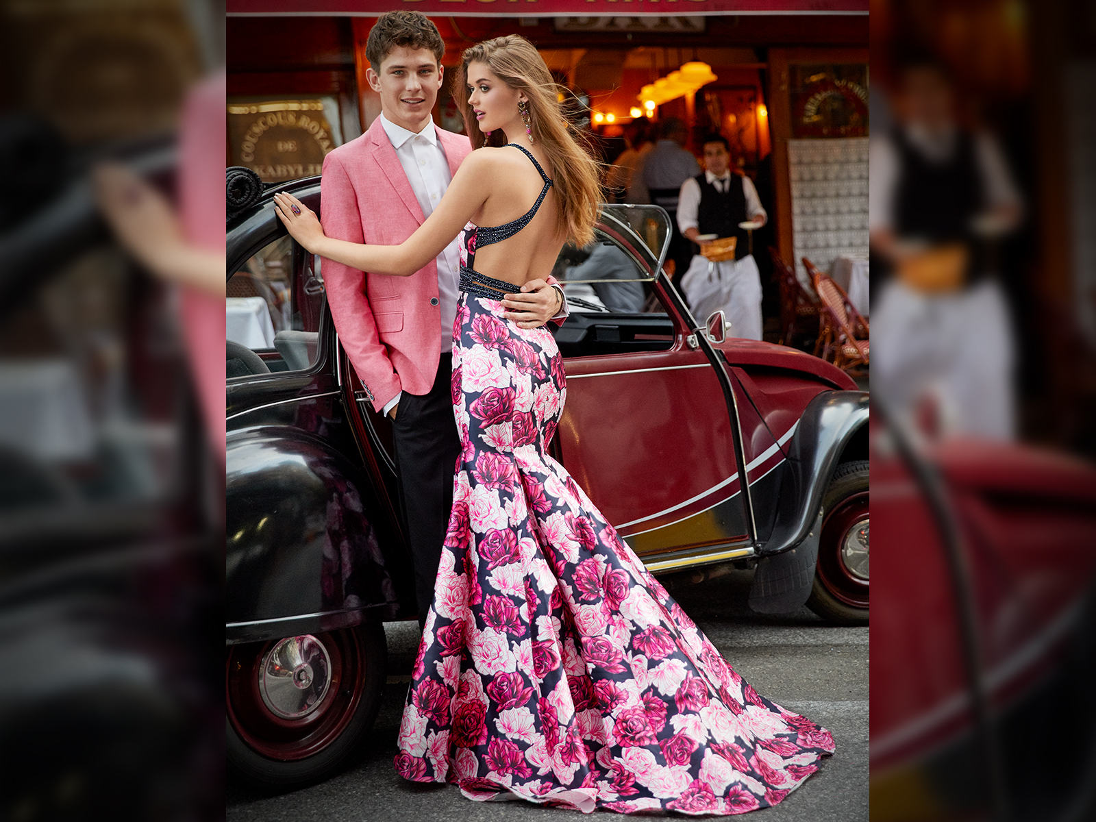 Printed Mikado Halter Mermaid Prom Dress