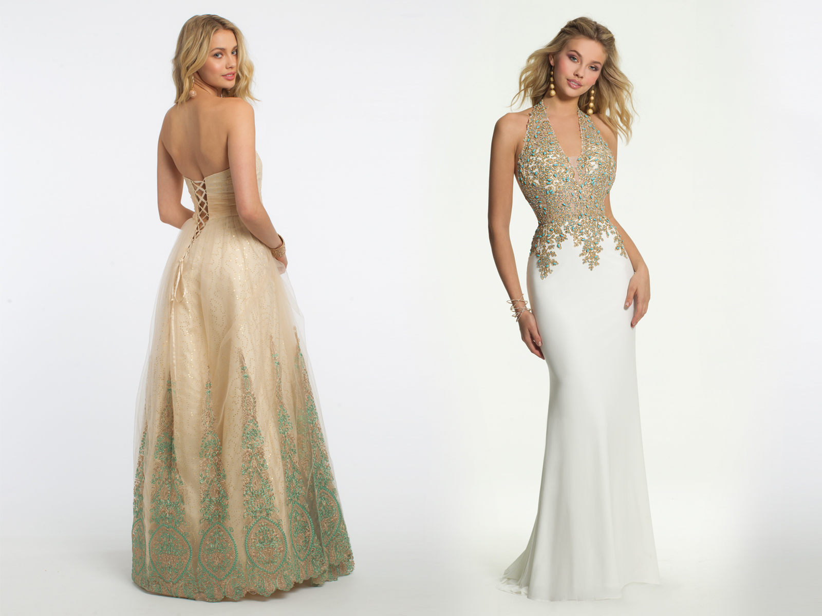 Ballgown and Plunging Prom Dress