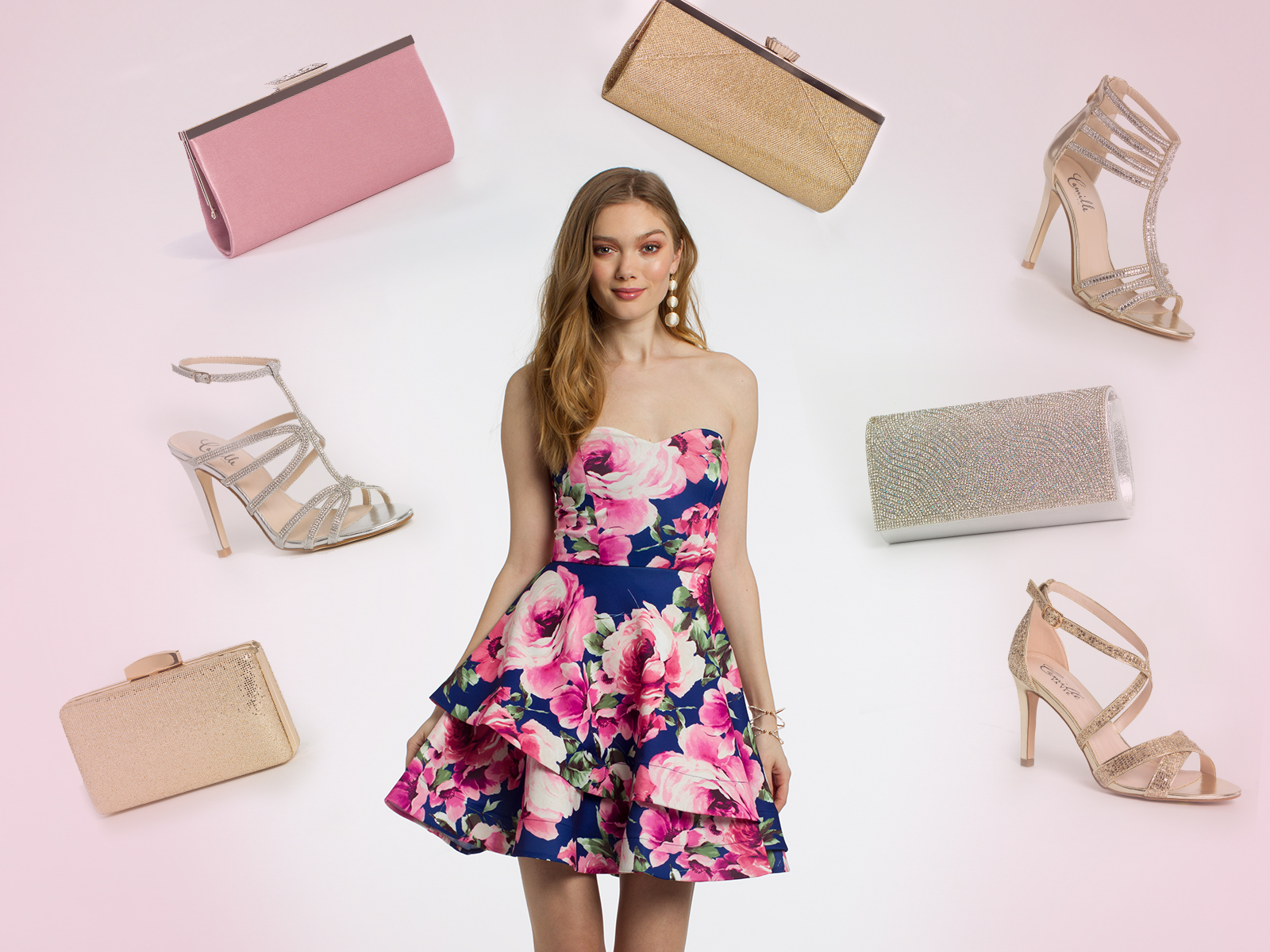 Floral Cocktail Dress and Accessories