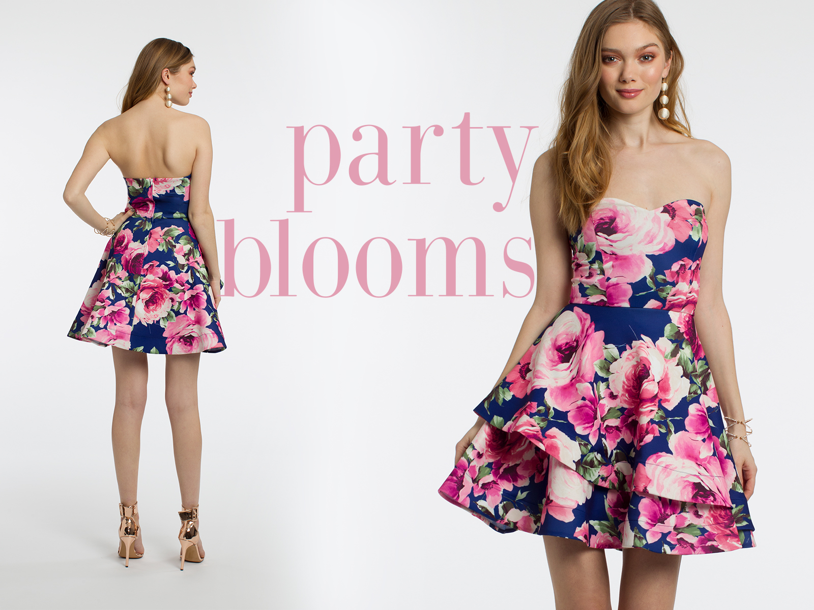 Strapless Floral Scuba Tiered Dress by Camille La Vie