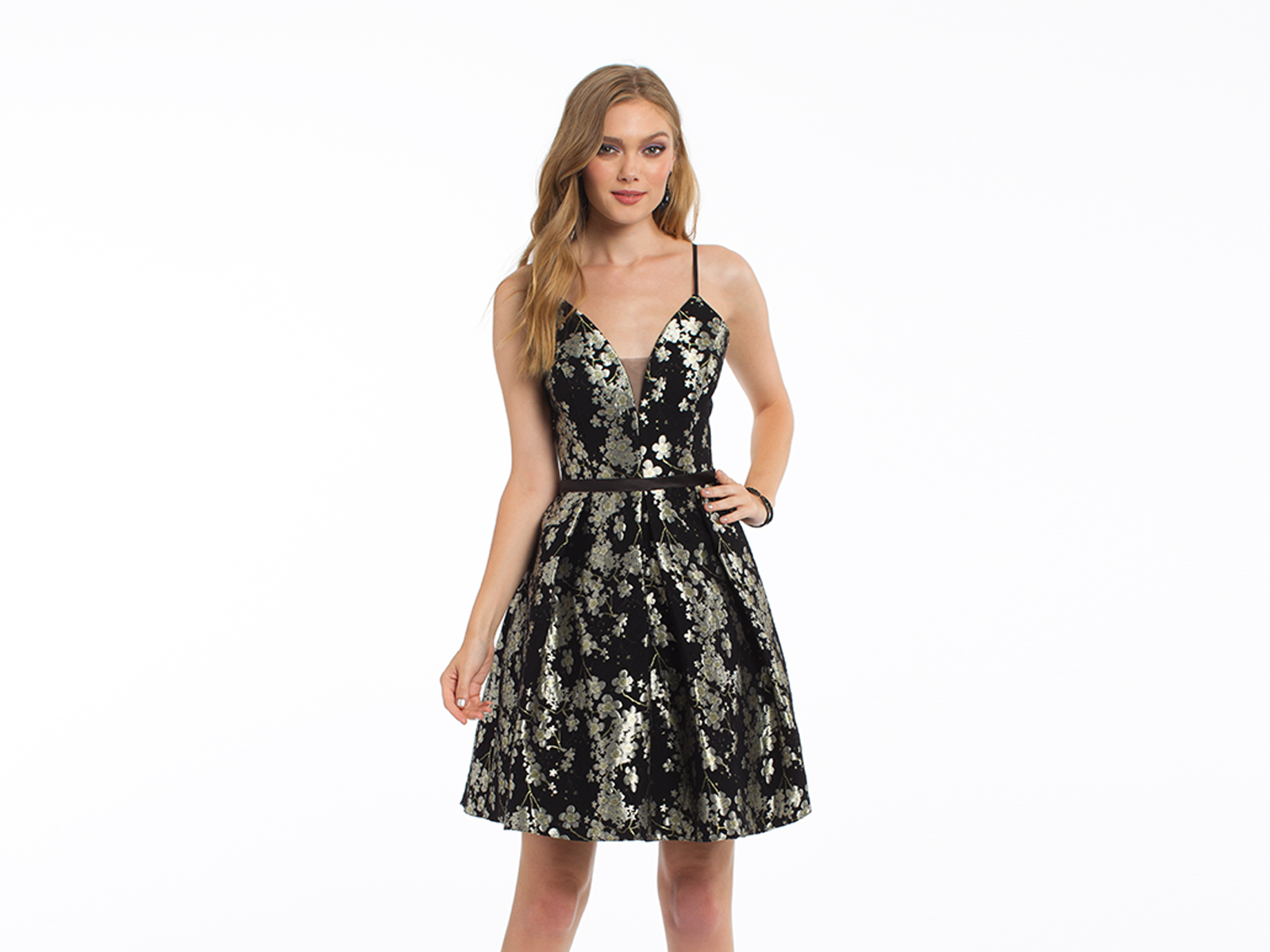 Brocade Plunging Spaghetti Strap Fit and Flare Dress