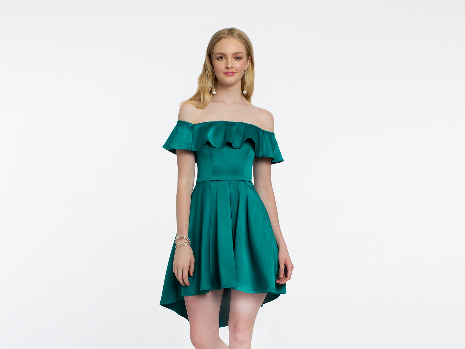 Satin Off the Shoulder Ruffle High Low Dress