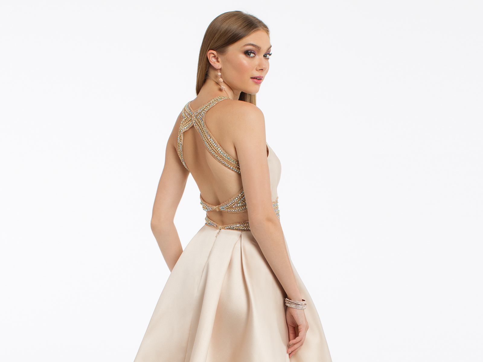 Gold Satin Homecoming Dress by Camille La Vie