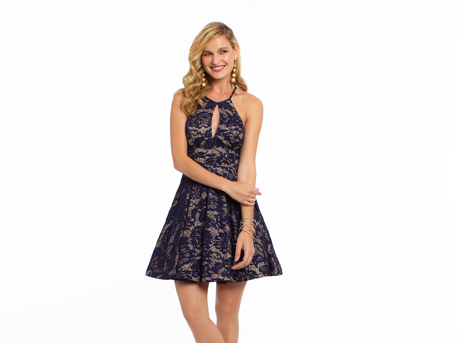 Two Tone Sequin Lace Halter Party Dress