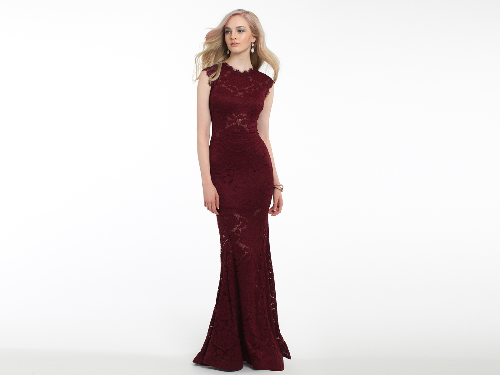 Allover Lace Bridesmaid Dress with Illusion Waist
