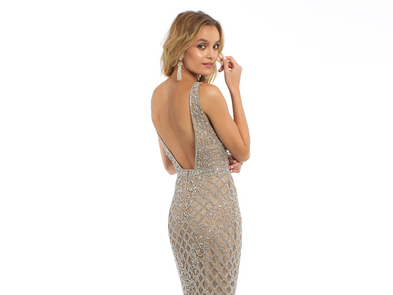 Beaded Illusion Plunge Dress by Camille La Vie