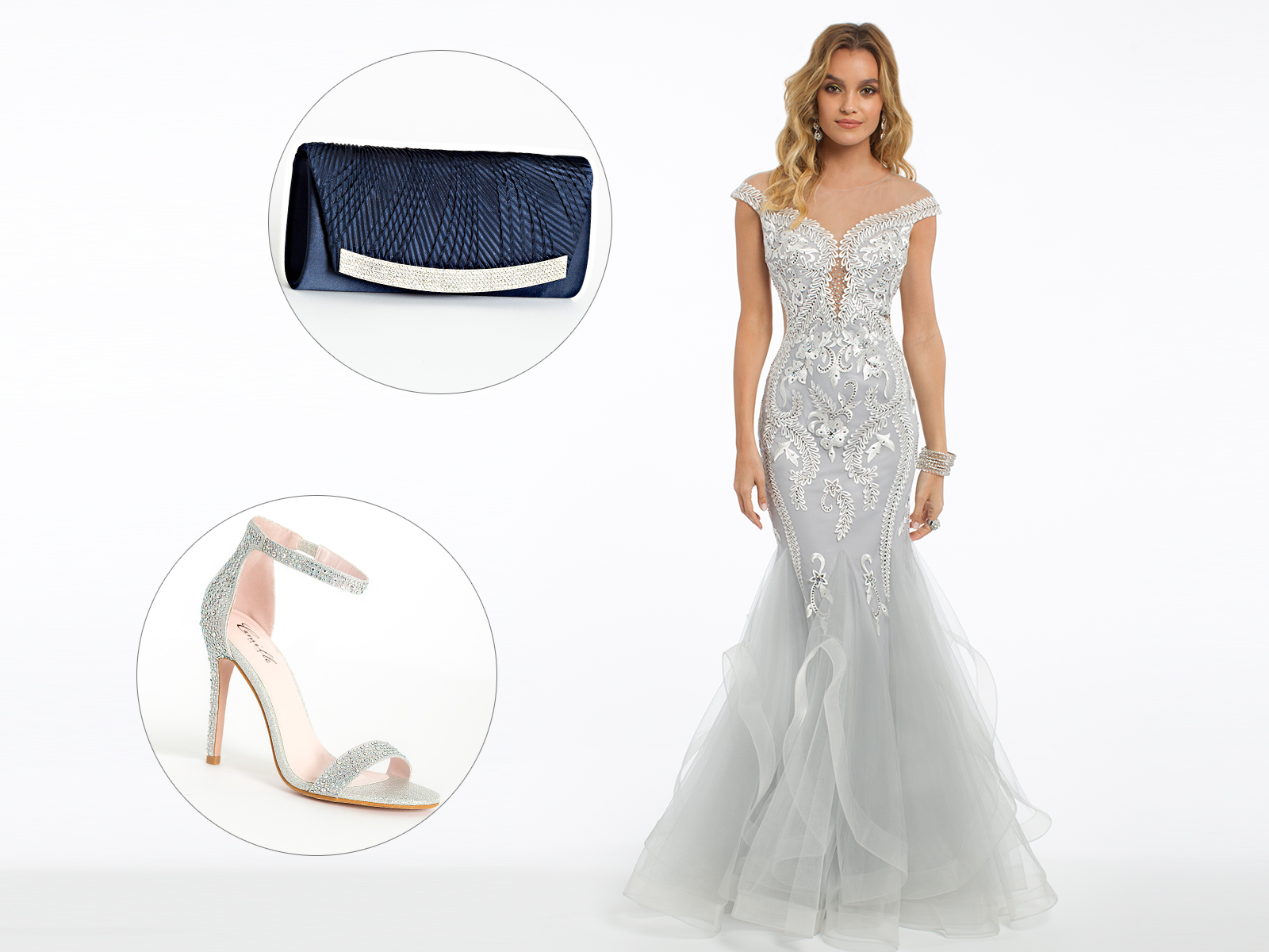 Embroidery Illusion Godet Prom Dress