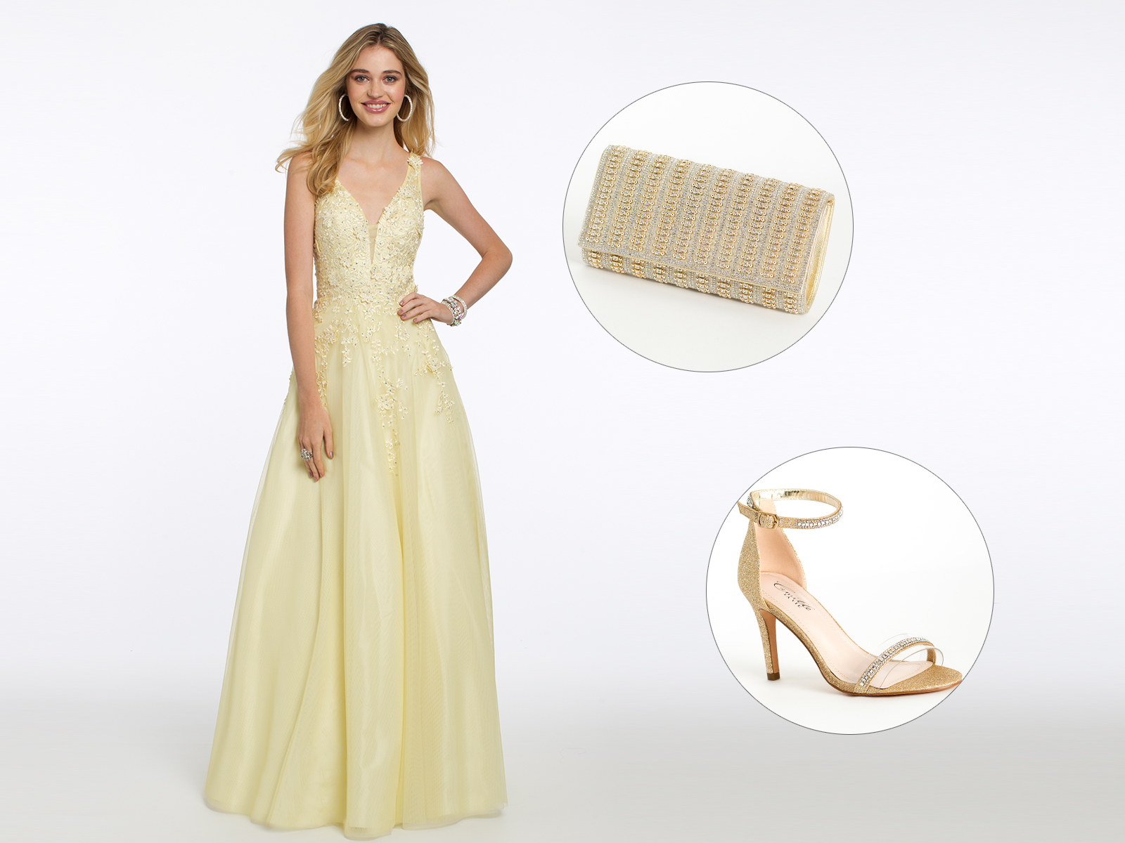 Embroidered 3-D Tulle Ballgown Prom Dress