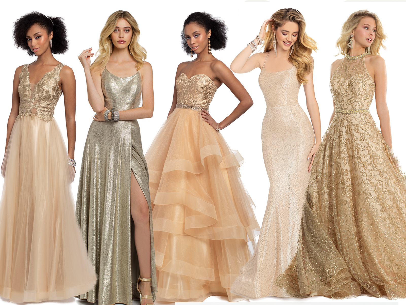 Gold Prom Dresses by Camille La Vie