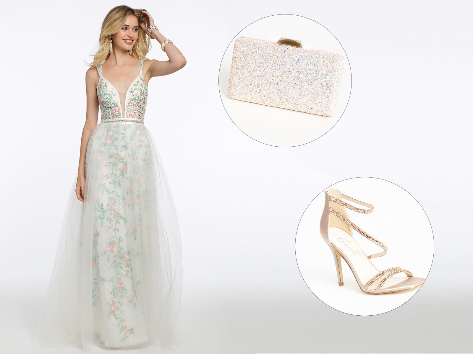 Plunge Embroidered Tulle Overlay Prom Dress